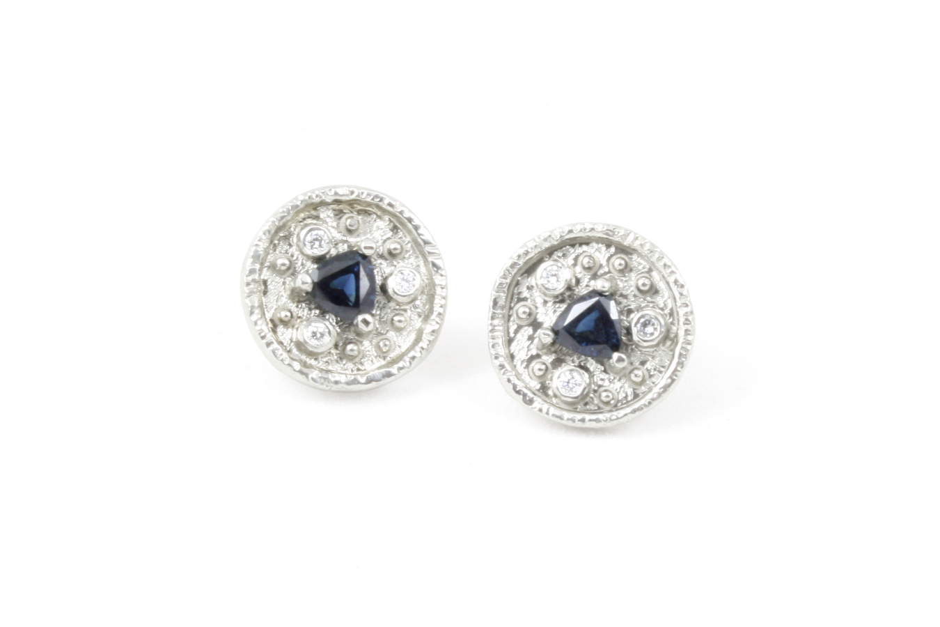 Trillion Cut Blue Shire With Three Diamonds In Each Earring These Little Studs Pack A Punch Of Sparkle 1 00 Ctw 09 Diamond